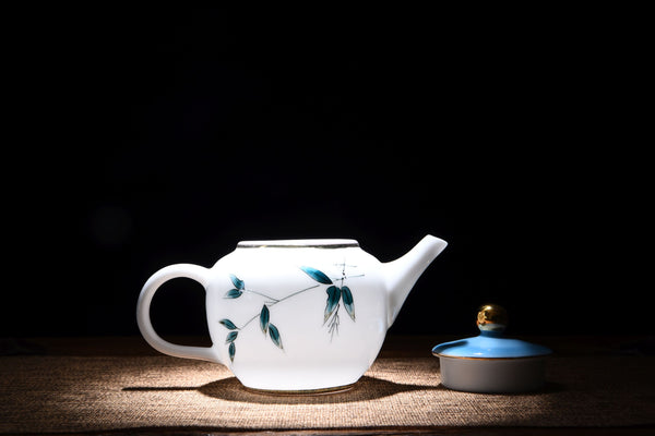 "White Porcelain ""Blue Bamboo"" Hand-Painted Teapot"