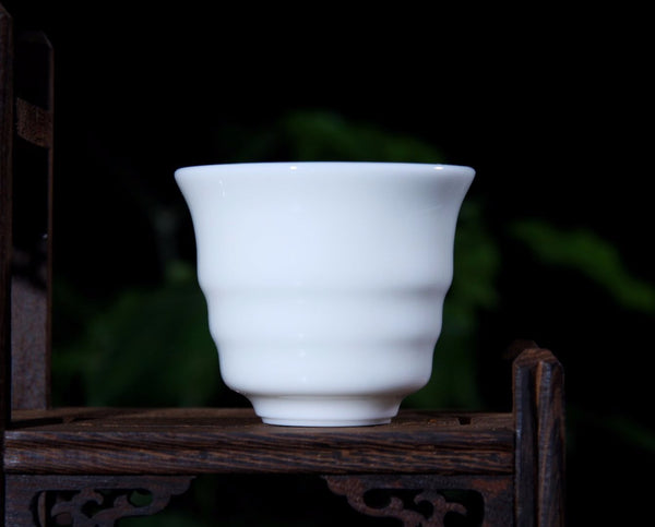 "Jingdezhen Porcelain ""Ribbed"" Cup in Gift Box * 60ml - Yunnan Sourcing Tea Shop"