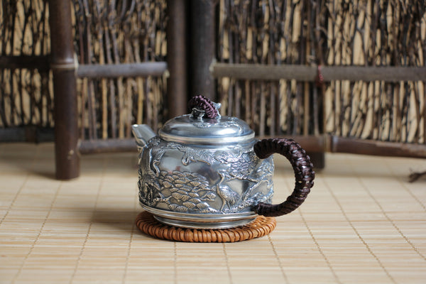 "Pure Silver 999 ""Kingdom of Cranes"" Teapot * 160ml"