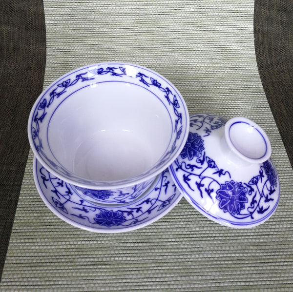 "Jingdezhen Gaiwan ""Six Petal Mudan"" Blue on White * 200ml"