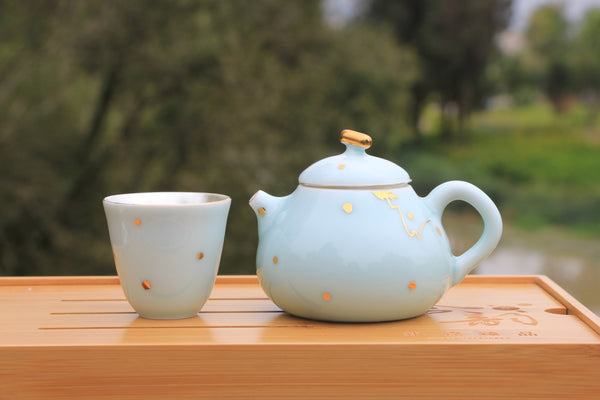 Pure 999 Silver and Gold Flecked Celadon Tea Set with Tea Table