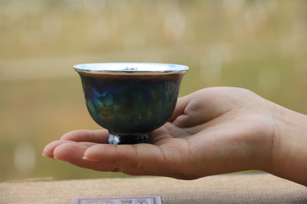 "Pure Silver 999 ""Rainbow"" Glazed Ceramic Cup * 85ml"