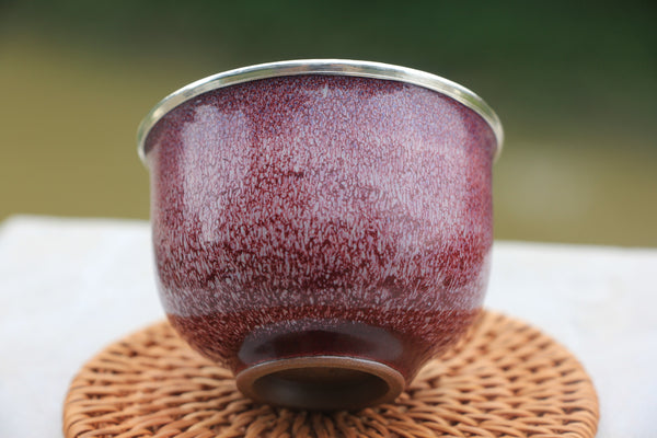 Pure Silver 999 Begonia Red Jun Porcelain Cup * 90ml