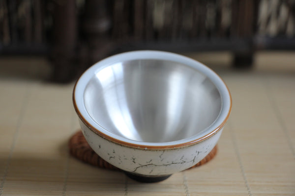 Pure Silver 999 Cream Glazed Ceramic Cup * 75ml