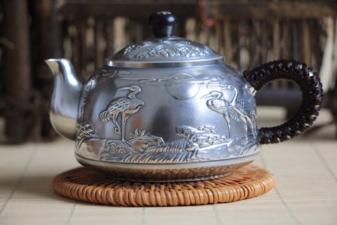 "Pure Silver 999 ""Cranes Ascend to Heaven"" Teapot * 240ml"