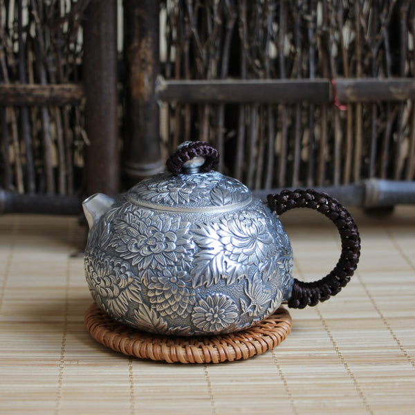 "Pure Silver 999 ""Chrysanthemum Flower"" Teapot * 150ml"