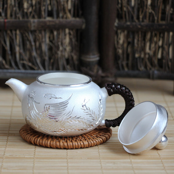 "Pure Silver 999 ""Phoenix and Dragon"" Teapot * 120ml"