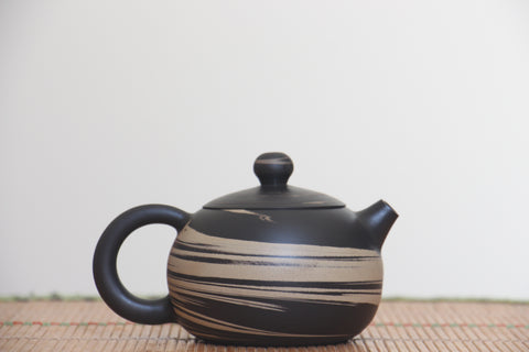 "Jian Shui Clay ""Black and White Swirl"" Xi Shi Teapot by Li Wen Xue * 220ml"
