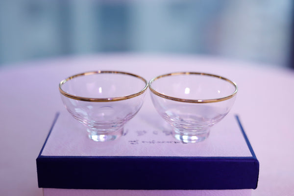 Golden Rim Glass Cups in Gift Box * Set of 2 * 40ml each