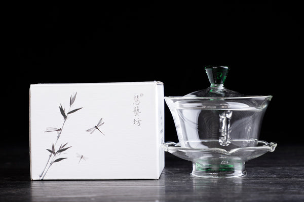 Green and Glass Gaiwan for Gong Fu Tea Brewing * 200ml
