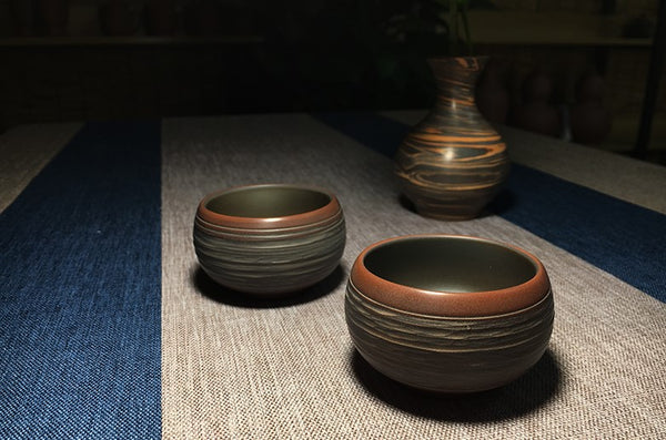 "Qin Zhou Clay Cups ""Xiang Yun"" by Gan Chuan De * Set of 2"