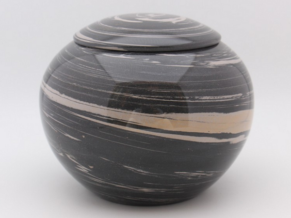 "Jian Shui ""Black and White"" Swirled Clay Orb"" Canister for Tea"