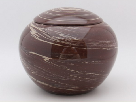 "Jian Shui Swirled ""White and Red Clay Orb"" Canister for Tea"