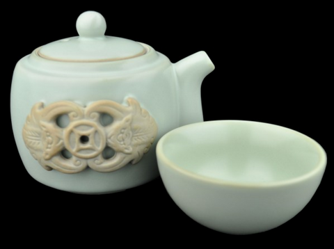 Ru Yao Kiln Celadon Dragon Teapot and Cup