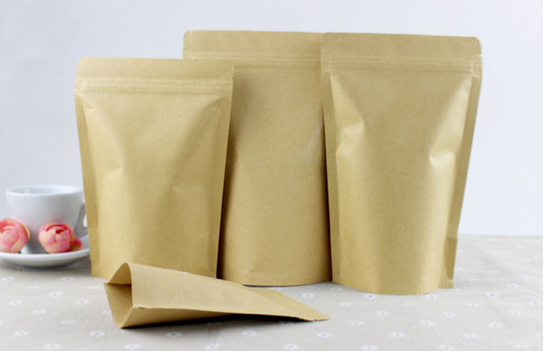 Kraft Paper Zip Lock Stand-up Pouches for Tea Packaging and Storage