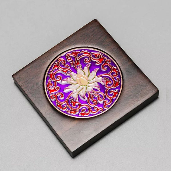 Cloisonné and Ebony Wood Coasters for Tea Cups