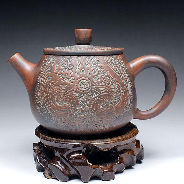 "Qin Zhou Nixing Clay Teapot ""Long Xian Liu Xiang"" by Lu Ji Zu"