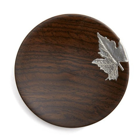 Ebony Hardwood Coasters with Silver Leaf * Set of 2