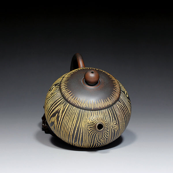 "Qin Zhou Teapot ""Tree Bark Xi Shi"" Pot by Hu Ying Jia"