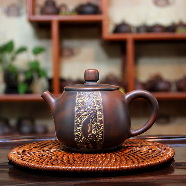 "Qin Zhou Teapot "" Dragon & Phoenix"" by Hu Ying Jia * 220ml - Yunnan Sourcing Tea Shop"