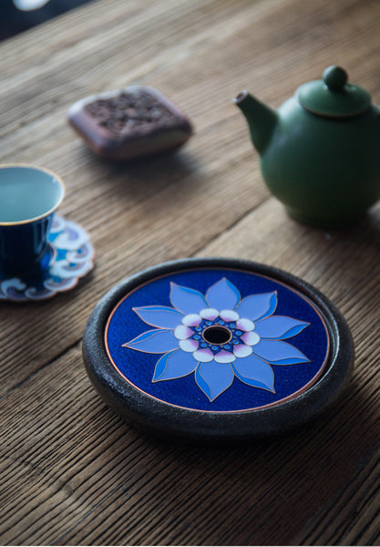 Cloisonné and Ceramic Mini Tea Boat Teapot Stand