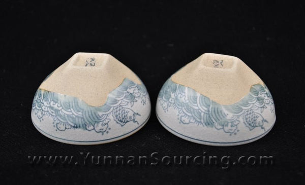 "Hand-Painted Glaze on Clay Cups ""Awash"" * Set of 2"