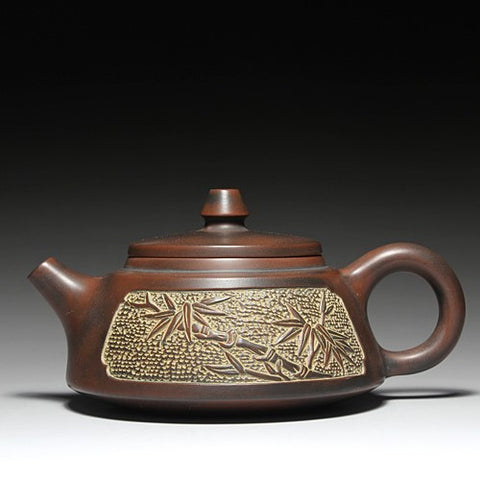"Qin Zhou Clay Teapot ""Bamboo"" by Hu Ying Jia * 150ml - Yunnan Sourcing Tea Shop"
