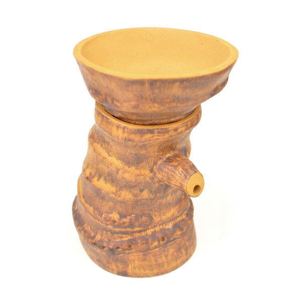 Faux Bamboo Burl Clay Strainer with Spouting Stand