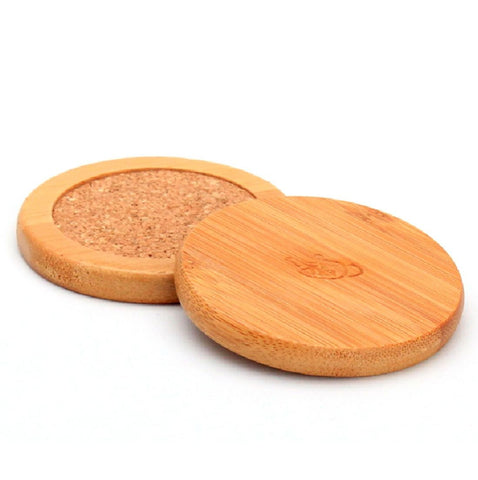 Bamboo and Cork Coaster for Tea Cups * Set of 2