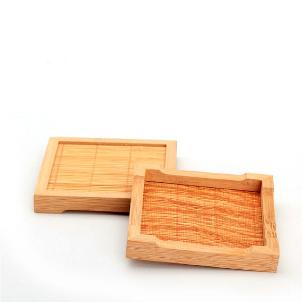 Bamboo and Woven Grass Coaster for Tea Cups * Set of 2