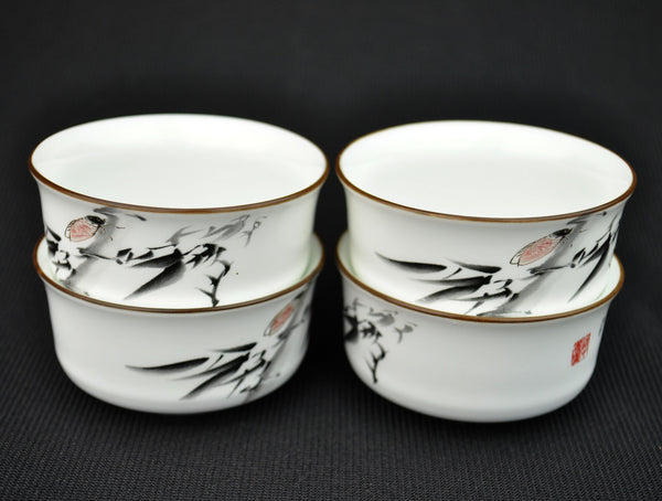 Bamboo Shoots Porcelain Tea Cups * Set of 4