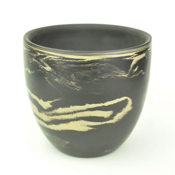 "Swirled Black and White ""Matte Finish"" Jian Shui Large Clay Cup"