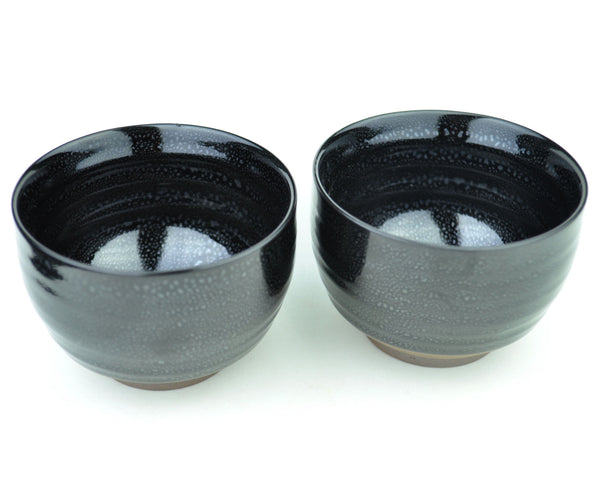 Shiny Black Soapstone Glazed Ceramic Cup * 100ml * Set of 2