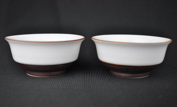 "White and Brown ""Turned"" Jingdezhen Cups * Set of 2"