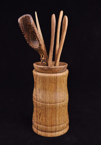 "Wengé Wood ""Modern Vase"" 6 piece Cha Dao Set for Gong Fu Tea"