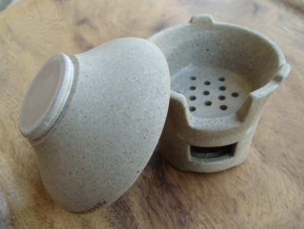 Natural Clay Strainer for Gong Fu Cha brewing w/ Stand