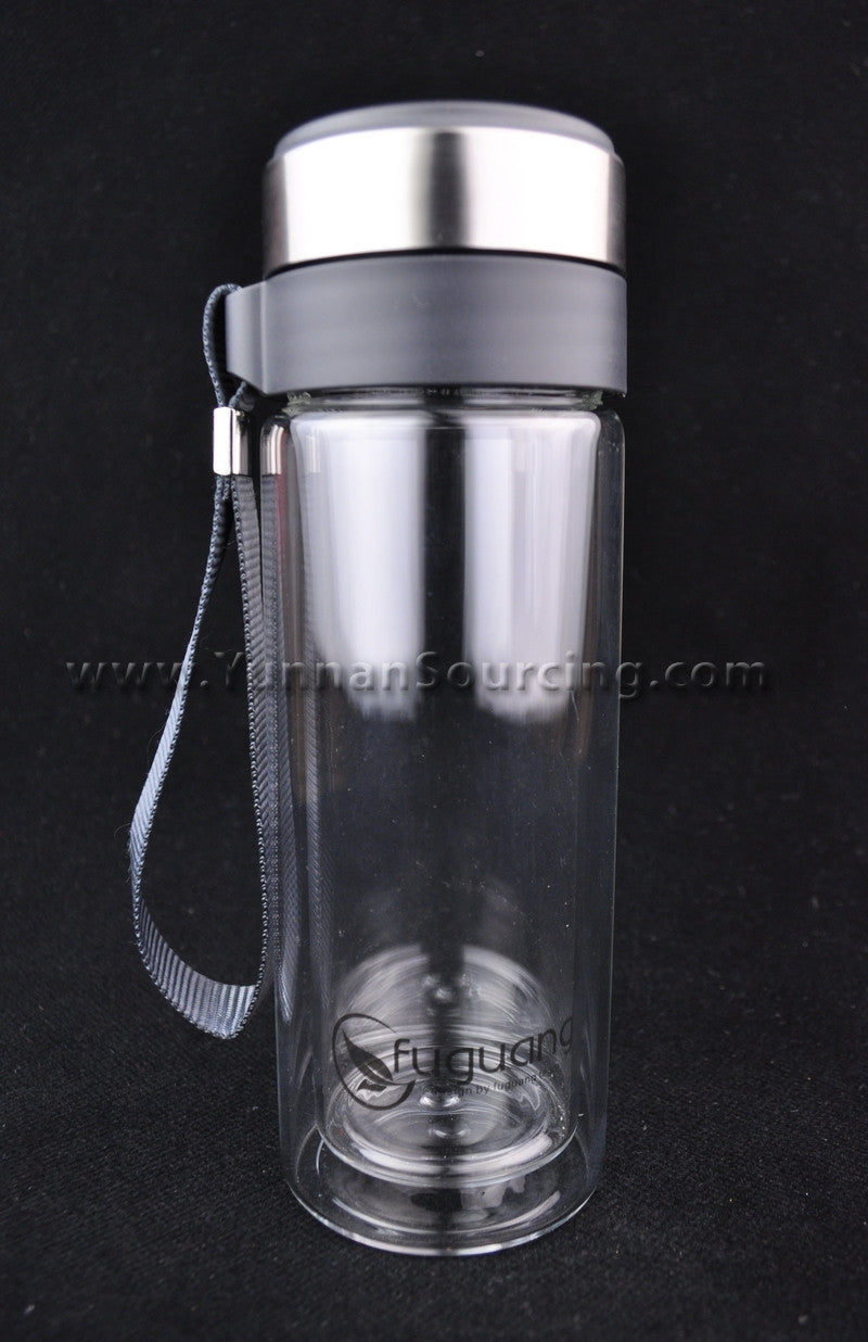 portable tea thermos heat tempered double layer glass 280ml - Glass Thermos