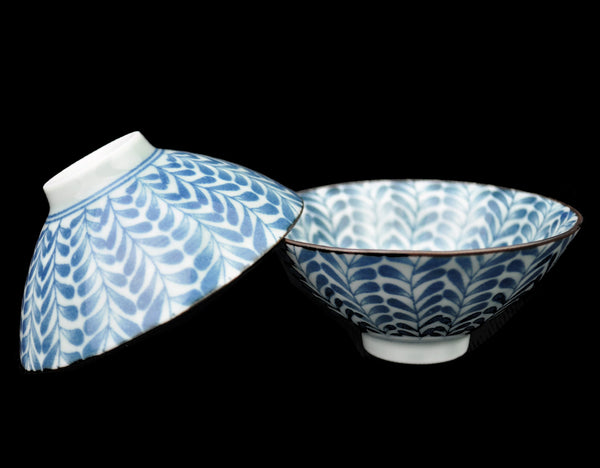 "Blue on White ""Leaves"" Porcelain Cups from Jingdezhen * Set of 2"