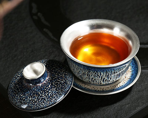 Jingdezhen Tian Mu Glazing and 999 Silver Gaiwan * 150ml