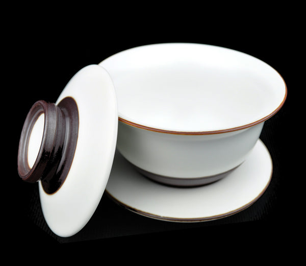"White and Brown ""Turned"" Jingdezhen Gaiwan 140ml"
