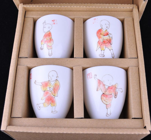 "Jingdezhen Porcelain Tea Set ""Gong Fu Kids"" Set of 4 Cups - Yunnan Sourcing Tea Shop"