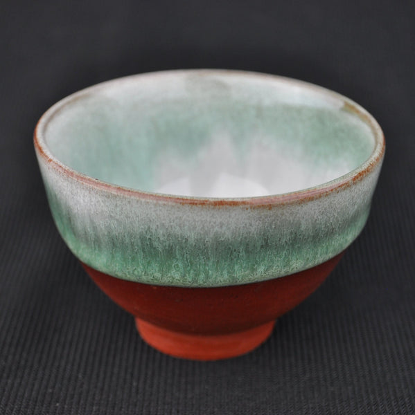 "Hua Ning Pottery ""Half Glazed Green on Red Clay"" Wide Cup 85ml"