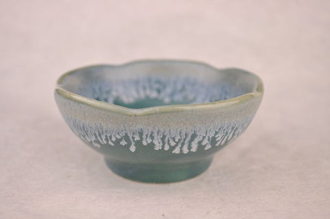 "Glazed Ceramic Tea Cup ""Ice Blue Frost"" Bowl * 80ml"