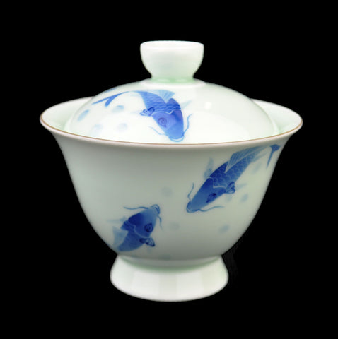 "Jade Porcelain ""Koi Frolicking"" Gaiwan for Gong Fu Tea"