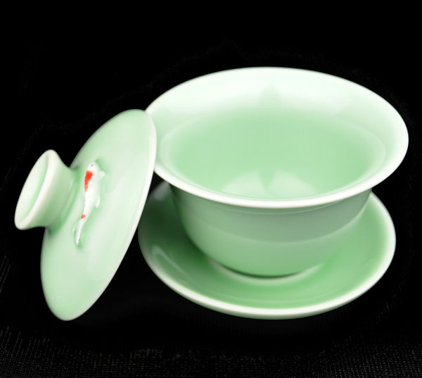 Koi in Emerald Glazed Gaiwan for Gong Fu Tea 120ml - Yunnan Sourcing Tea Shop