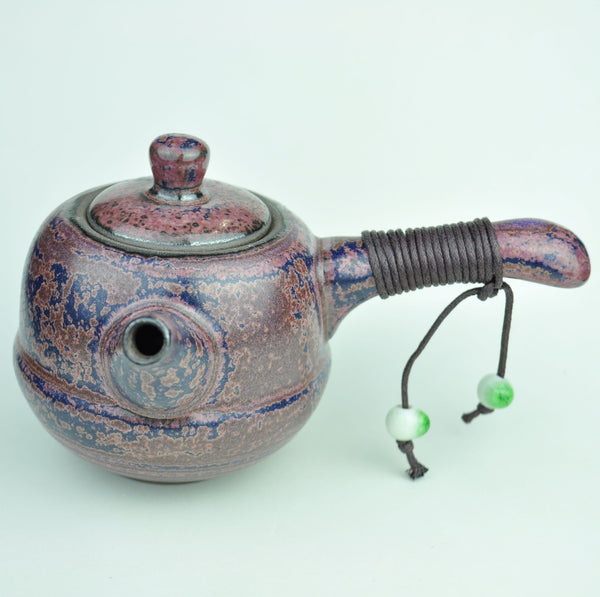 Kyusu Style Purple Blue Glazed Ceramic Teapot * 230ml - Yunnan Sourcing Tea Shop