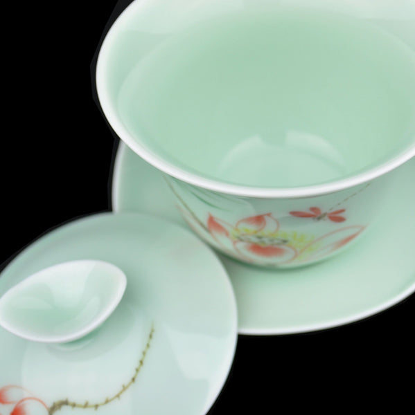 Lotus Motif on Jade Glaze Ceramic Gaiwan 170ml - Yunnan Sourcing Tea Shop