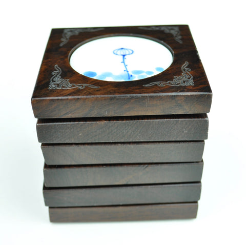 "Black Hardwood and Porcelain ""Lotus Life Cycle"" Coasters * Set of 6"