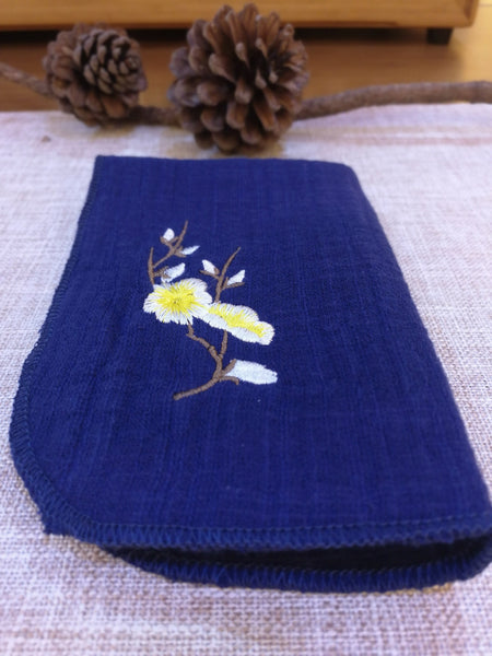 Cherry Blossoms on Royal Blue Tea Towel