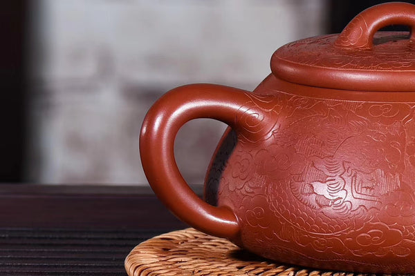 "Da Hong Pao Clay ""Etched Shi Piao"" Yixing teapot * 240ml"